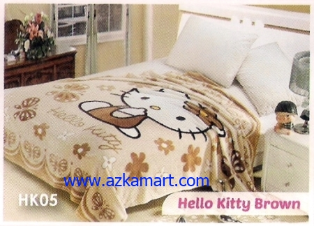 35 Selimut Blossom HK05 Hello Kitty Brown