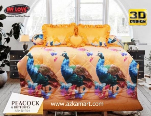 jual online sprei bedcover my love peacock