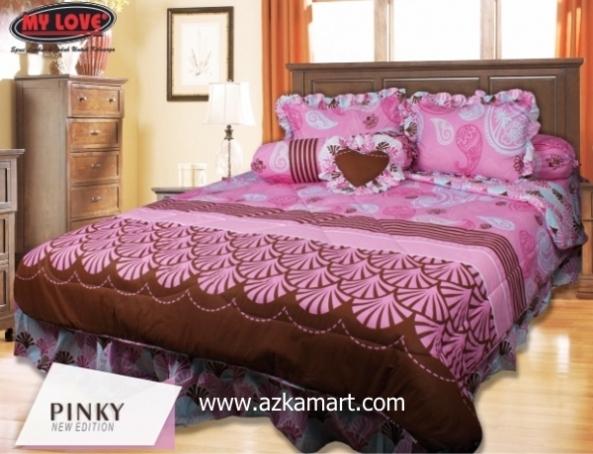 jual online sprei bedcover my love pinky