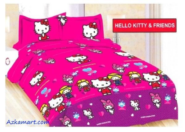 jual sprei bonita motif karakter kartun anak hello kitty friend