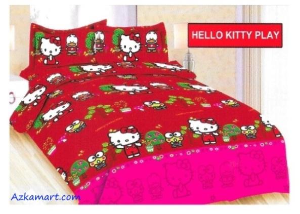 jual sprei bonita motif karakter kartun anak hello kitty play