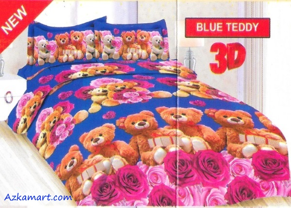 jual sprei bonita motif karakter kartun anak blue teddy